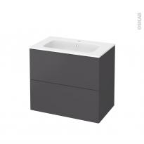 Meuble de salle de bains - Plan vasque REZO - GINKO Gris - 2 tiroirs - Côtés décors - L80,5 x H71,5 x P50,5 cm