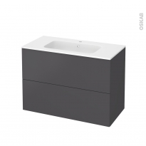 Meuble de salle de bains - Plan vasque REZO - GINKO Gris - 2 tiroirs - Côtés décors - L100,5 x H71,5 x P50,5 cm