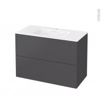 Meuble de salle de bains - Plan vasque VALA - GINKO Gris - 2 tiroirs - Côtés décors - L100,5 x H71,2 x P50,5 cm