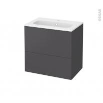 Meuble de salle de bains - Plan vasque REZO - GINKO Gris - 2 tiroirs - Côtés décors - L60,5 x H58,5 x P40,5 cm