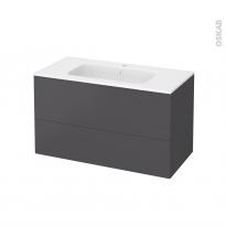 Meuble de salle de bains - Plan vasque REZO - GINKO Gris - 2 tiroirs - Côtés décors - L100,5 x H58,5 x P50,5 cm