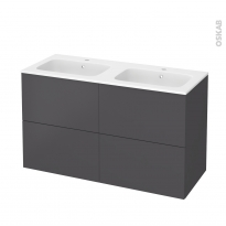 Meuble de salle de bains - Plan double vasque REZO - GINKO Gris - 4 tiroirs - Côtés décors - L120,5 x H71,5 x P50,5 cm