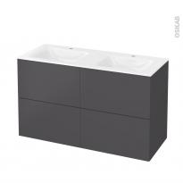 Meuble de salle de bains - Plan double vasque VALA - GINKO Gris - 4 tiroirs - Côtés décors - L120,5 x H71,2 x P50,5 cm