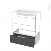 Tiroir sous meuble - Socle n°101 - GINKO Gris - pour meuble salle de bains - L80 x H26 x P45 cm