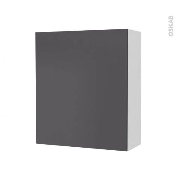 Armoire de salle de bains - Rangement haut - GINKO Gris - 1 porte - Côtés blancs - L60 x H70 x P27 cm