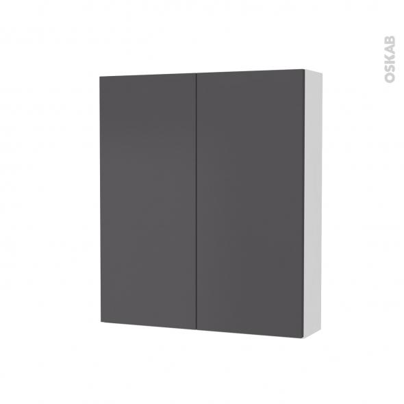 Armoire de toilette - Rangement haut - GINKO Gris - 2 portes - Côtés blancs - L60 x H70 x P17 cm