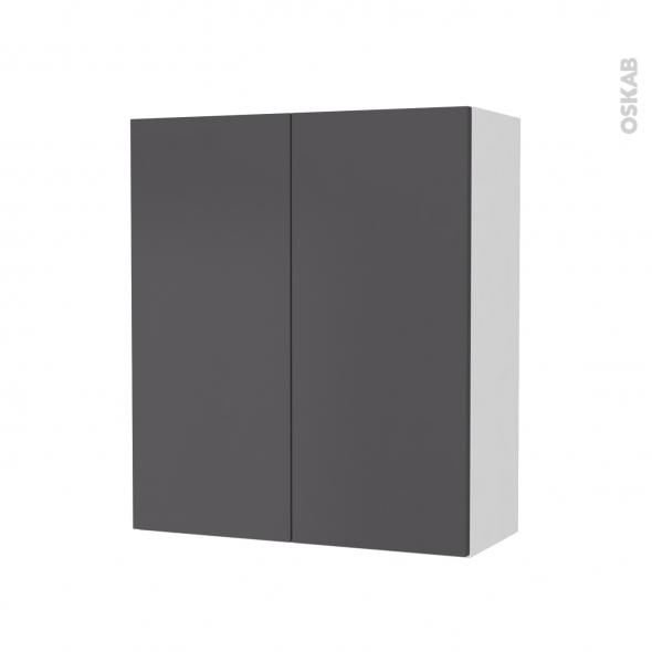 Armoire de salle de bains - Rangement haut - GINKO Gris - 2 portes - Côtés blancs - L60 x H70 x P27 cm