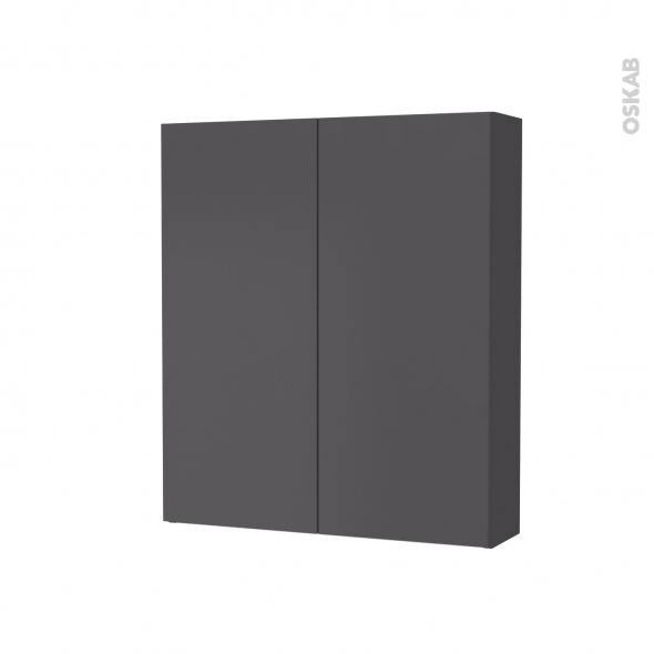 Armoire de toilette - Rangement haut - GINKO Gris - 2 portes - Côtés décors - L60 x H70 x P17 cm