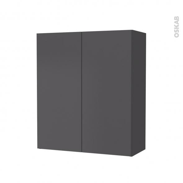 Armoire de salle de bains - Rangement haut - GINKO Gris - 2 portes - Côtés décors - L60 x H70 x P27 cm