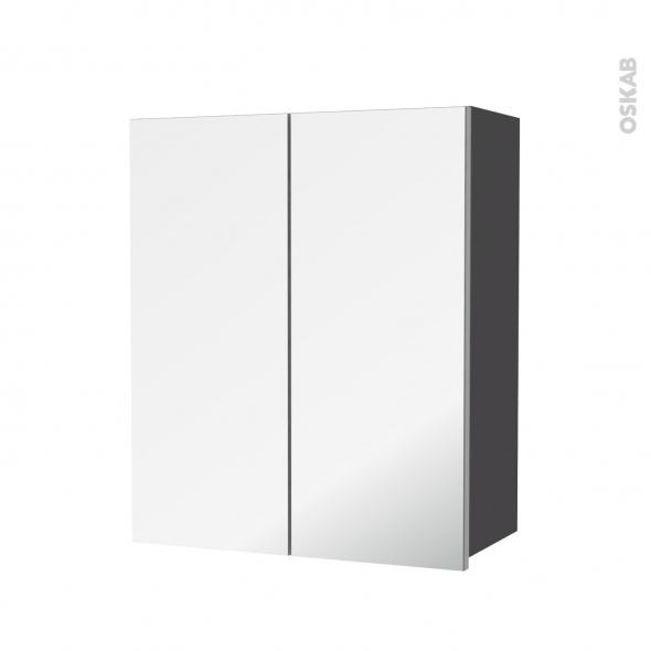 Armoire de salle de bains - Rangement haut - GINKO Gris - 2 portes miroir - Côtés décors - L60 x H70  xP27 cm