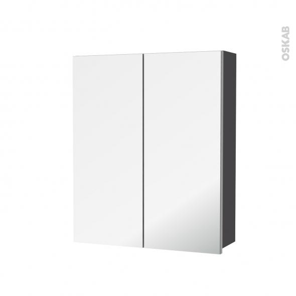 Armoire de toilette - Rangement haut - GINKO Gris - 2 portes miroir - Côtés décors - L60 x H70 x P17 cm