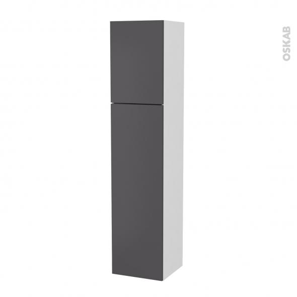 Colonne de salle de bains - 2 portes - GINKO Gris - Côtés blancs - Version A - L40 x H182 x P40 cm