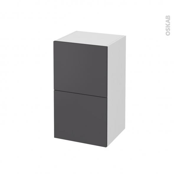 Meuble de salle de bains - Rangement bas - GINKO Gris - 2 tiroirs 1 tiroir à l'anglaise - L40 x H70 x P37 cm