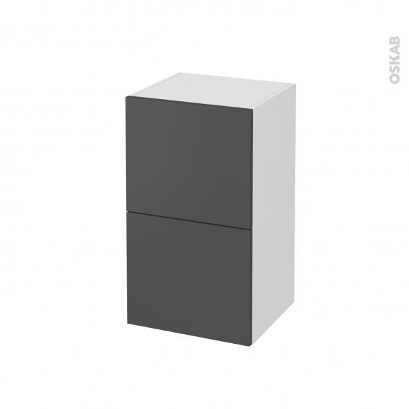 Meuble de salle de bains - Rangement bas - GINKO Gris - 2 tiroirs - L40 x H70 x P37 cm