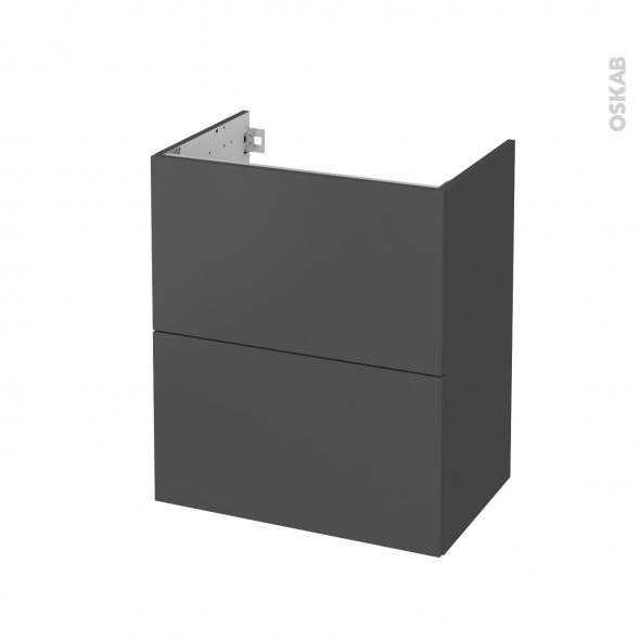 Meuble de salle de bains - Sous vasque - GINKO Gris - 2 tiroirs - Côtés décors - L60 x H70 x P40 cm