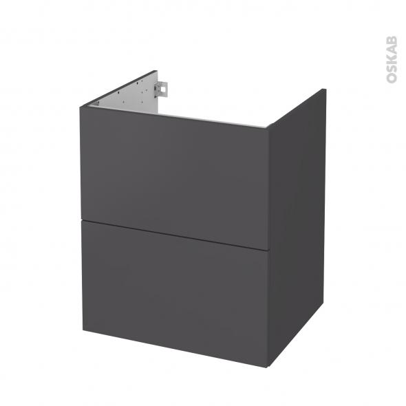 Meuble de salle de bains - Sous vasque - GINKO Gris - 2 tiroirs - Côtés décors - L60 x H70 x P50 cm