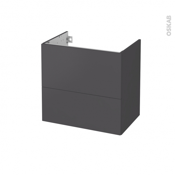 Meuble de salle de bains - Sous vasque - GINKO Gris - 2 tiroirs - Côtés décors - L60 x H57 x P40 cm