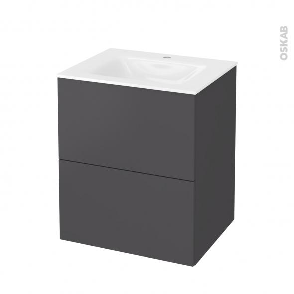 Meuble de salle de bains - Plan vasque VALA - GINKO Gris - 2 tiroirs - Côtés décors - L60,5 x H71,2 x P50,5 cm