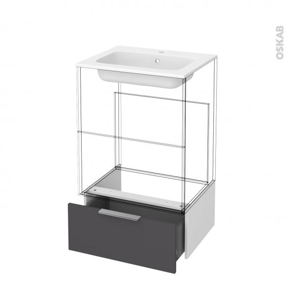 Tiroir sous meuble - Socle n°51 - GINKO Gris - pour meuble salle de bains - L60 x H26 x P45 cm