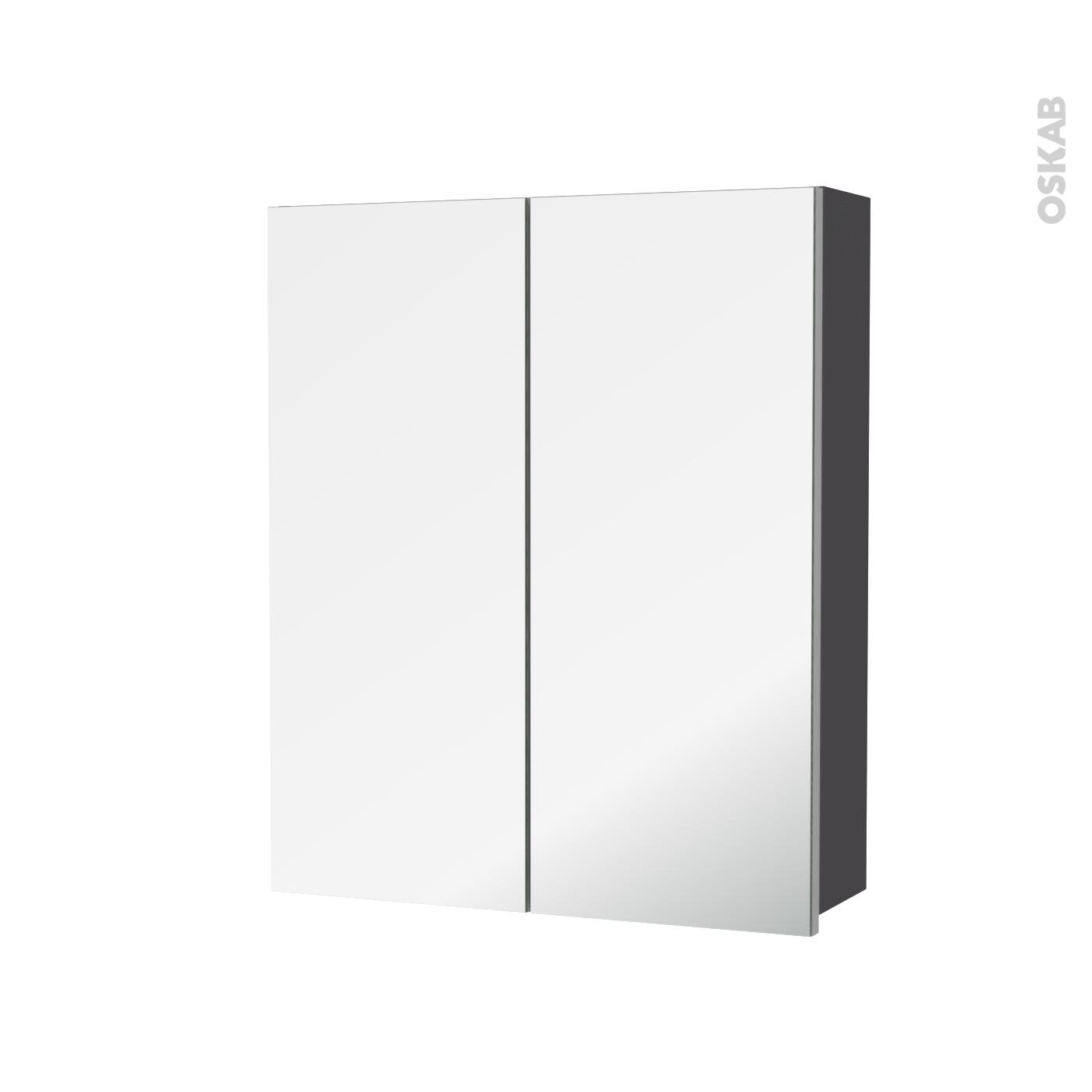Hauteur Armoire De Toilette armoire de toilette rangement haut ginko gris, 2 portes miroir, côtés  décors, l60 x h70 x p17 cm