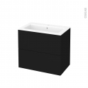 Meuble de salle de bains - Plan vasque NAJA - GINKO Noir - 2 tiroirs - Côtés décors - L80,5 x H71,5 x P50,5 cm