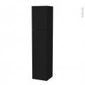 Colonne de salle de bains - 2 portes - GINKO Noir - Côtés décors - Version A - L40 x H182 x P40 cm