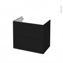 Meuble de salle de bains - Sous vasque - GINKO Noir - 2 tiroirs - Côtés décors - L80 x H70 x P50 cm