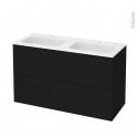 Meuble de salle de bains - Plan double vasque REZO - GINKO Noir - 4 tiroirs - Côtés décors - L120,5 x H71,5 x P50,5 cm