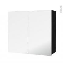 Armoire de salle de bains - Rangement haut - GINKO Noir - 2 portes miroir - Côtés décors - L80 x H70 x P27 cm