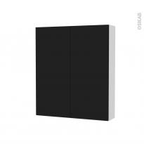 Armoire de toilette - Rangement haut - GINKO Noir - 2 portes - Côtés blancs - L60 x H70 x P17 cm