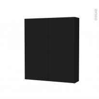 Armoire de toilette - Rangement haut - GINKO Noir - 2 portes - Côtés décors - L60 x H70 x P17 cm