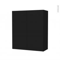 Armoire de salle de bains - Rangement haut - GINKO Noir - 2 portes - Côtés décors - L60 x H70 x P27 cm