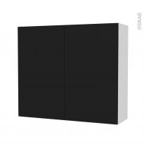 Armoire de salle de bains - Rangement haut - GINKO Noir - 2 portes - Côtés blancs - L80 x H70 x P27 cm