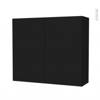 Armoire de salle de bains - Rangement haut - GINKO Noir - 2 portes - Côtés décors - L80 x H70 x P27 cm