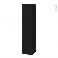 Colonne de salle de bains - 2 portes - GINKO Noir - Côtés décors - Version B - L40 x H182 x P40 cm