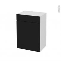 Meuble de salle de bains - Rangement bas - GINKO Noir - 1 porte 1 tiroir - L50 x H70 x P37 cm