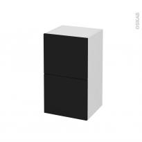 Meuble de salle de bains - Rangement bas - GINKO Noir - 2 tiroirs 1 tiroir à l'anglaise - L40 x H70 x P37 cm