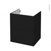 Meuble de salle de bains - Sous vasque - GINKO Noir - 2 tiroirs - Côtés décors - L60 x H70 x P50 cm