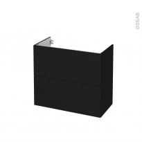 Meuble de salle de bains - Sous vasque - GINKO Noir - 2 tiroirs - Côtés décors - L80 x H70 x P40 cm