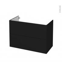 Meuble de salle de bains - Sous vasque - GINKO Noir - 2 tiroirs - Côtés décors - L100 x H70 x P50 cm