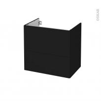 Meuble de salle de bains - Sous vasque - GINKO Noir - 2 tiroirs - Côtés décors - L60 x H57 x P40 cm