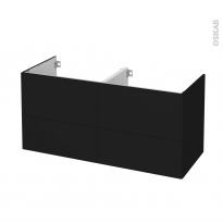 Meuble de salle de bains - Sous vasque double - GINKO Noir - 4 tiroirs - Côtés décors - L120 x H57 x P50 cm