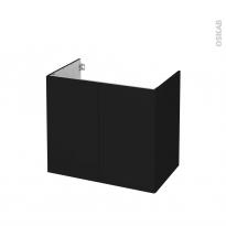 Meuble de salle de bains - Sous vasque - GINKO Noir - 2 portes - Côtés décors - L80 x H70 x P50 cm