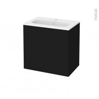 Meuble de salle de bains - Plan vasque REZO - GINKO Noir - 1 porte - Côtés décors - L60,5 x H58,5 x P40,5 cm