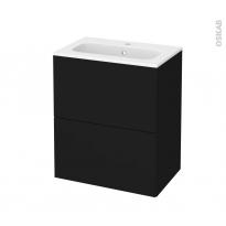 Meuble de salle de bains - Plan vasque REZO - GINKO Noir - 2 tiroirs - Côtés décors - L60,5 x H71,5 x P40,5 cm