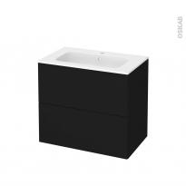 Meuble de salle de bains - Plan vasque REZO - GINKO Noir - 2 tiroirs - Côtés décors - L80,5 x H71,5 x P50,5 cm