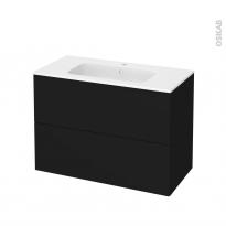 Meuble de salle de bains - Plan vasque REZO - GINKO Noir - 2 tiroirs - Côtés décors - L100,5 x H71,5 x P50,5 cm