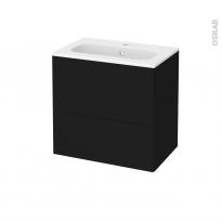 Meuble de salle de bains - Plan vasque REZO - GINKO Noir - 2 tiroirs - Côtés décors - L60,5 x H58,5 x P40,5 cm