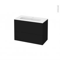 Meuble de salle de bains - Plan vasque REZO - GINKO Noir - 2 tiroirs - Côtés décors - L80,5 x H58,5 x P40,5 cm
