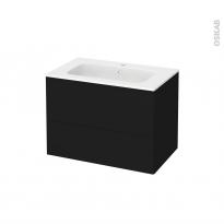 Meuble de salle de bains - Plan vasque REZO - GINKO Noir - 2 tiroirs - Côtés décors - L80,5 x H58,5 x P50,5 cm